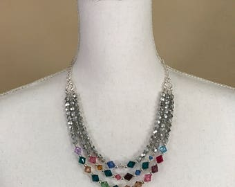 Birthstone Family Generation Necklace with Swarovski Crystals - FREE shipping
