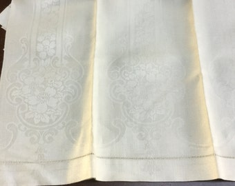 3 Ivory Damask Towels Vintage Linens From Ireland Matching Floral Set