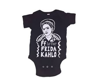 "Frida Kahlo Feminist Onesie: w/ 9x12"" Screen Print Gift Set"