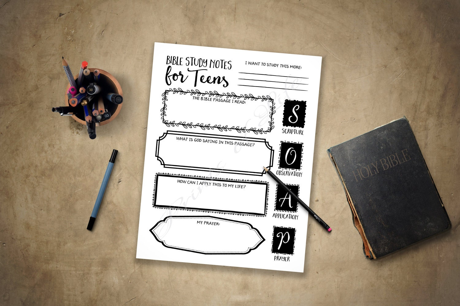 bible study notes for teens pdf printable instant download