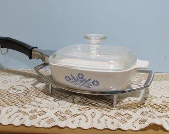 Corning Ware Blue Cornflower Casserole ~Casserole Dish with Lid ~Corning Ware Handle and Carrier ~ 1 Quart  ~Pyrex Glass Lid ~Retro  Kitchen