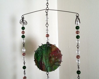 Green and Purple Suncatcher Mobile Beaded Steel Wire Wrapped Antique Stained Kokomo Glass Handmade Hanging Art Home Decor Accent Ornament