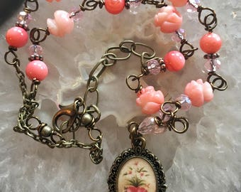 Sacred Heart Graceful Vintaj Religious Pendant Wire-Wrapped, Handcrafted