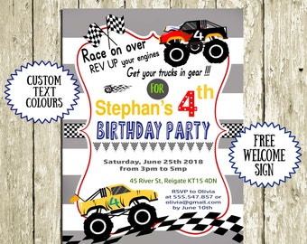 Birthday Invitations for Boys Printable Monster Truck Invitation Racing Car 2nd birthday 3rd birthday 4th birthday 5th birthday 6th birthday