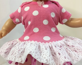 """15 inch Bitty Baby Clothes """"Pretty PINK POLKA Dots"""" Lace Ruffle & Trim Dress, 15"""" AG Bitty Baby and Twin, Fits 16"""" Cabbage Patch Kids, Pink!"""