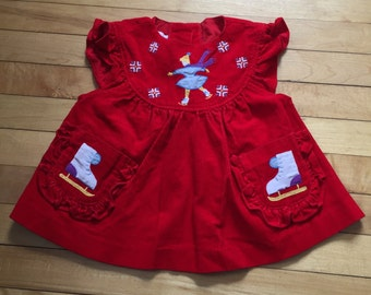 Vintage 1980s Baby Infant Girls Red Corduroy Skating Dress! Size 12 months