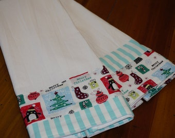 Christmas Flour Sack Towels dish towels set of two holiday design teacher gift housewarming gift stocking stuffer aqua kitchen