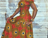 African print gypsy maxi dress in red and brown hues.