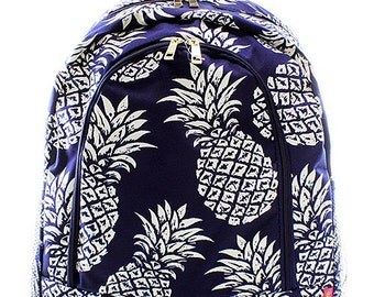Personalized Navy Blue Pineapple Print Backpack * Bookbag with Monogram or Name * Custom Monogrammed Book bag * Embroidered Gift