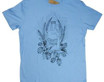 Mens T Shirt - Craft Beer T Shirt - Light Blue Tees - Blue T Shirts for Men - Growler T Shirt - Beer Tees - Blue Tee Shirts S M L XL 2XL
