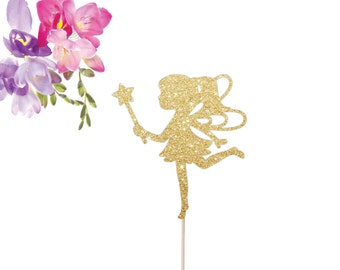 Fairy Cake Topper - Fairy Party Cake Topper (Faerie Party, Fairy Princess, Fairy Birthday, Fairy Theme, Fairy with Wand) Make a Wish