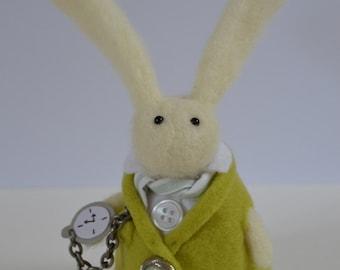 Little Needle Felt Rabbit in a Green Waistcoat, Shirt and Pocket Watch,Handmade,Bunny, Needlefelt,Soft Sculpture,Fibre Art,OOAK,Miniature