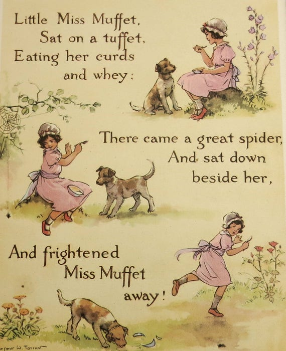 1950s children's nursery rhyme print, book illustration of Little Miss Muffet by Margaret Tarrant, matted and mounted, 14 x 11 inches