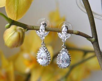 Crystal Bridal Earrings, Wedding earrings Small Bridal earrings, Bridesmaids, Great Gatsby 1920s Wedding Jewelry, Long Crystal Stud Earrings