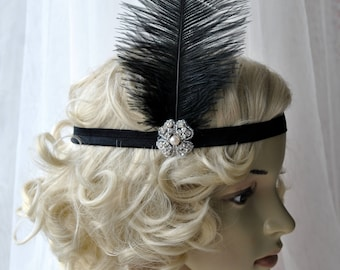 Black Flapper Feather Headband, The Great Gatsby headpiece, 1920s Flapper rhinestone Headband, Vintage Inspired, Feather, Art Deco headband