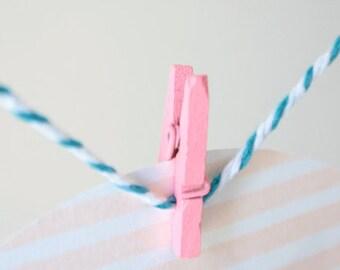 Mini Clothes Pegs - 24 Pink Mini Clothes Pins - Wooden Mini Clips