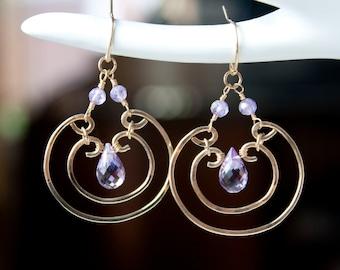 Amethyst Wire Wrapped Earrings, Purple Statement Earrings, Purple Chandelier Earrings, Circle earrings