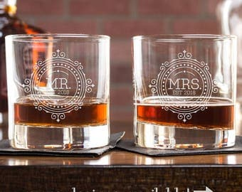 Wedding Gift, Engagement Gift, Whiskey Glasses, Mr And Mrs Whiskey Glass Set, Anniversary Gift, Rocks Glasses, Gift For Husband