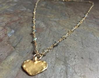 Labradorite gemstone gold heart charm necklace
