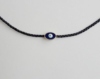 Evil eye necklace,Charm necklace,Black,Braided macrame,Minimalist,Short necklace,Adjustable,Enamel charm,Greek mati,Minimal jewelry,Nazar