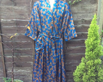 Vintage silky robe, M Sharp Perrin of London, Traditional woman's robe.