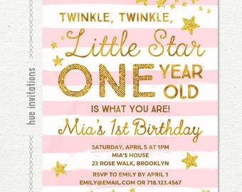 twinkle twinkle little star first birthday invitation, pink girls 1st birthday party invitation, gold glitter stars stripes digital file