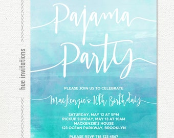 pajama party birthday invitation, sleepover slumber party girls teen birthday invitation, blue watercolor birthday printable invitation