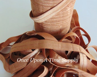 Caramel Brown Fold Over Elastic for Baby Headbands - Up to 5 Yards of 5/8 inch FOE Craft Supplies Solid Color Regular Elastic By The Yard