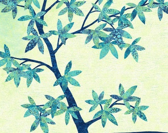 "Shimmer Echoes 21458M-45 Fabric; Blue Lagoon; Northcott Artisan Spirit; BY-THE-PANEL; 23"" x 42/44""; Metallic; Tree Fabric"