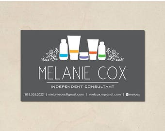 printable - skin care business cards - mommy calling cards - hand illustrated bottles and florals - personalized - skin business - DIY