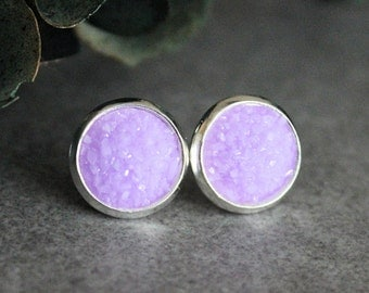 Lavender Stud Earrings, Lavender Druzy Earrings, Lavender Earrings, Purple Stud Earrings, Light Purple Earrings, Purple Posts, 10MM Earrings