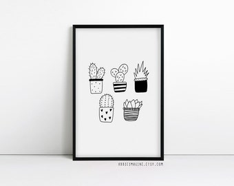Plant print - cactus - succulent gifts - plant lady - black and white print