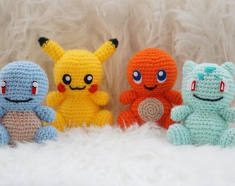 Amigurumi Pikachu, Squirtle, Bulbasaur or Charmander pokemon go toy teddy of crochet