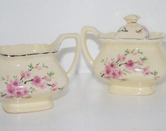 Vintage W S GEORGE Peach Blossom Lido in Cream Creamer and Sugar Set
