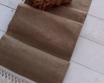 Burlap Runner - Burlap Runner with Fringe - Rustic Runner - Table Runner - Wedding Runner - Home Decor - Table Runner - Choose Length