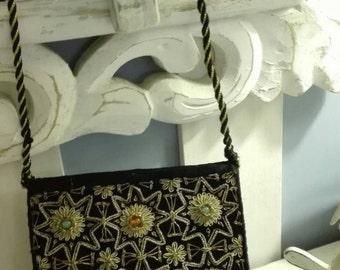 Boho vintage evening Clutch purse bag balances Boho, ethnic, tribal chic black velvet embroidery gold thread stones bag velvet black gold