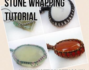 TUTORIAL Macrame Stone Wrapping / Macrame Stone Tying