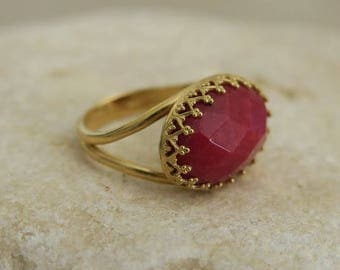 VALENTINES GIFT, Red Jade Ring, Red Stone Ring, Big Stone Ring, Solitaire Ring, Gold Stone Ring, Handmade Jewelry, Womens Gift, For Her