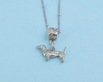 Dachshund Charm Pendant Necklace in silver pewter.  Dachshund necklace.  Dachshund  jewelry.  Dachshund.