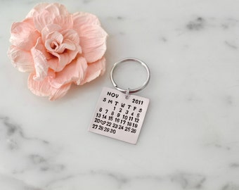 Personalized Calendar Keychain, Special Date Hand Stamped w/ Heart - Custom, Wedding, Anniversary, Valentine, or Birthday Gift / Present