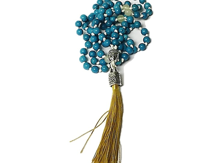 Natural Sinkiang Turquoise Mala Necklace | 108 Bead Hemp Cord Mala w Natural Jade Stone & Buddha Guru Bead | Gold Tassel Unique Gift Mom
