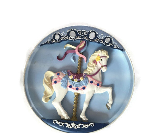 Vintage Musical Carousel Horse | Collectible Wall Decor | Handpainted | Inlaid Austrian Crystals & Mirrors