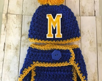U of M newborn hat and diaper, University of Michigan baby hat, University of Michigan diaper cover, U of M newborn photo prop, U of M hat