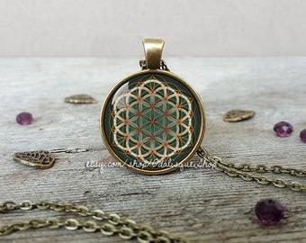 Flower of life pendant, Flower of life Necklace, Flower of life jewelry, Sacred geomery necklace, Green flower of life, CB247