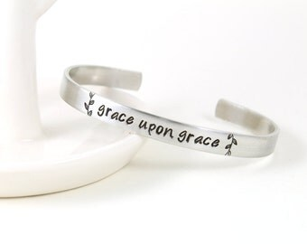 Faith Bracelet - Grace Upon Grace - God's Grace - Bible Verse Bracelet - Silver Cuff Bracelet - Faith Jewelry - Be Still - Christian Jewelry