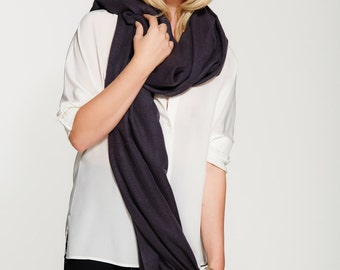 Handwoven Cashmere - Silk Blend Shawl - Scarf - Travel Wrap - in Black Liquorice -  Premium Natural Yarns - Perfect for Layering or Travel