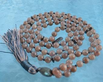 108 Genuine Strawberry Rose Quartz Mala Beads Necklace - Astral-Travel, Auric-Healing, Dream-Recall, Dreams, Energy-balancing, Throat-Chakra