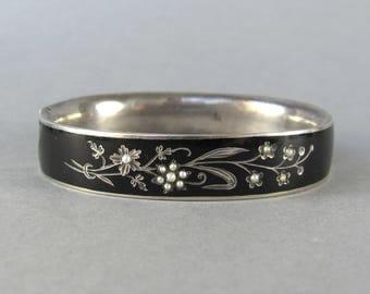 ANTIQUE Victorian mourning bracelet, seed pearl flower bouquet bangle, antique Victorian mourning jewelry, goth bangle bracelet, vintage.