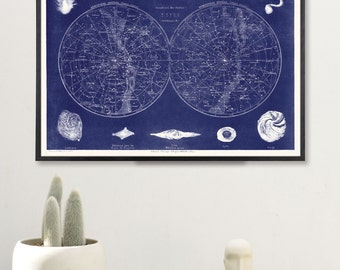 Blue Constellation Art Print, Celestial Map Art Print, Vintage Science Art Print, Celestial Map Print, Large Loft Art, Vintage Science Print