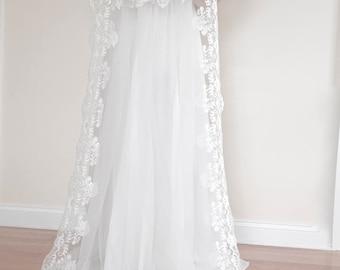 2 Layers Veil, 2 Tiers Veil, Elbow Blusher Veil, Veil with Blusher, Drop Veil, Wedding Veil, Diamond Veil, Bridal Veil, White Veil, Custom